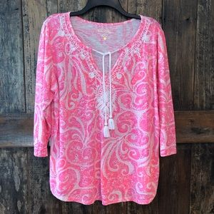Lilly Pulitzer, XL, Classic Pink & White Tunic